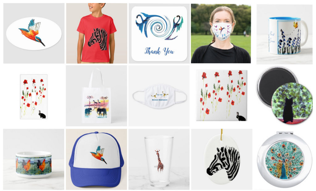 Print on demand products with animal art